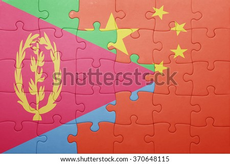 puzzle with the national flag of china and eritrea . concept - stock photo