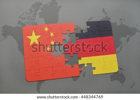 puzzle with the national flag of china and germany on a world map background. 3D illustration - stock photo