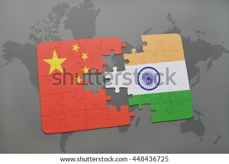 puzzle with the national flag of china and india on a world map background. 3D illustration