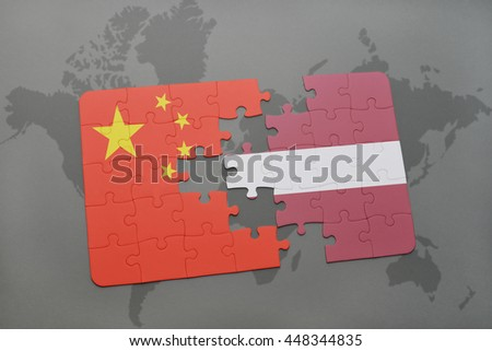 puzzle with the national flag of china and latvia on a world map background. 3D illustration - stock photo