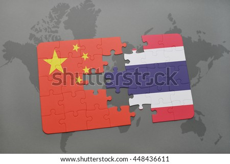 puzzle with the national flag of china and thailand on a world map background. 3D illustration - stock photo