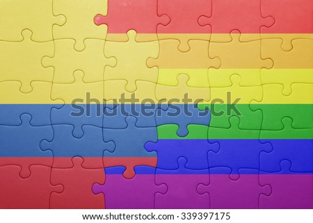 puzzle with the national flag of colombia and gay flag.concept - stock photo