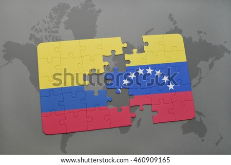puzzle with the national flag of colombia and venezuela on a world map background. 3D illustration