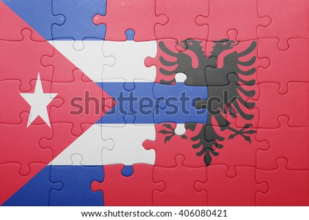 puzzle with the national flag of cuba and albania . concept - stock photo