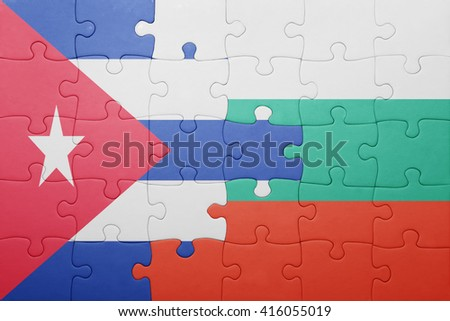 puzzle with the national flag of cuba and bulgaria . concept - stock photo