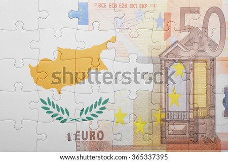 puzzle with the national flag of cyprus and euro banknote . concept - stock photo
