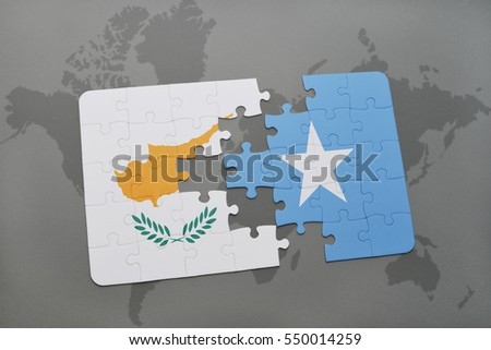 puzzle with the national flag of cyprus and somalia on a world map background. 3D illustration