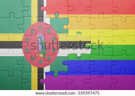 puzzle with the national flag of dominica and gay flag.concept - stock photo