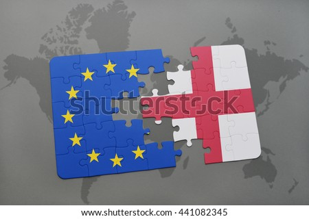 puzzle with the national flag of england and european union on a world map background. - stock photo