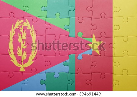 puzzle with the national flag of eritrea and cameroon . concept - stock photo