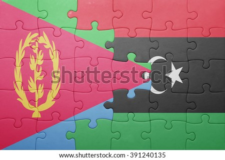 puzzle with the national flag of eritrea and libya . concept - stock photo
