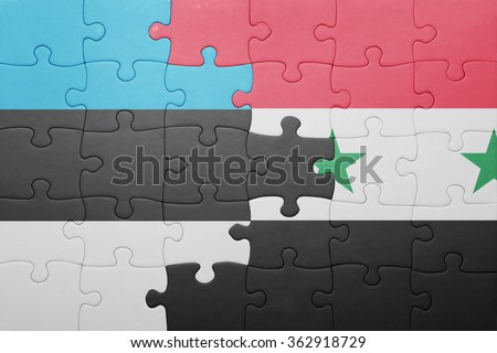 puzzle with the national flag of estonia and syria . concept