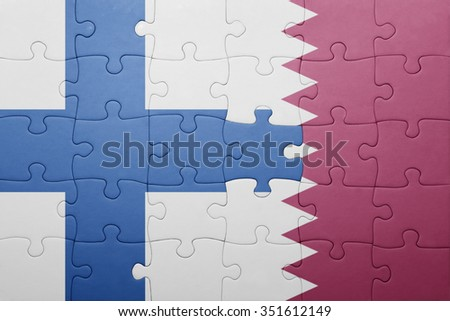 puzzle with the national flag of finland and qatar . concept