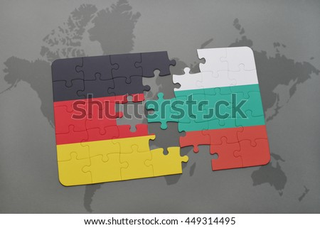 puzzle with the national flag of germany and bulgaria on a world map background. 3D illustration - stock photo