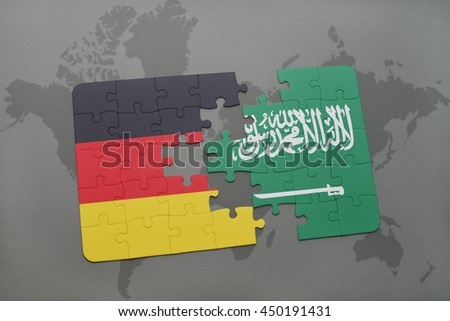 puzzle with the national flag of germany and saudi arabia on a world map background. 3D illustration