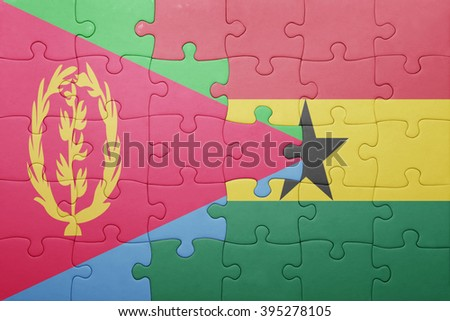 puzzle with the national flag of ghana and eritrea . concept - stock photo