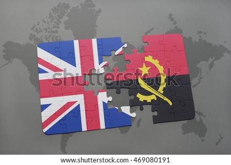 puzzle with the national flag of great britain and angola on a world map background. 3D illustration