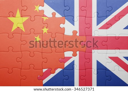 puzzle with the national flag of great britain and china . concept