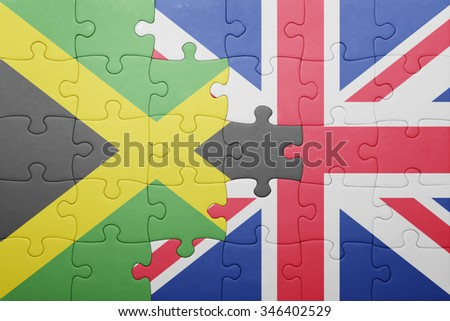 puzzle with the national flag of great britain and jamaica . concept - stock photo