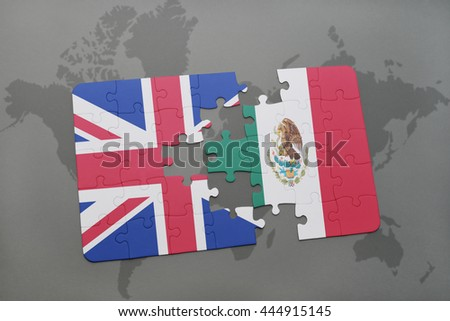 puzzle with the national flag of great britain and mexico on a world map background. - stock photo