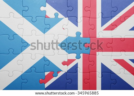 puzzle with the national flag of great britain and scotland . concept - stock photo