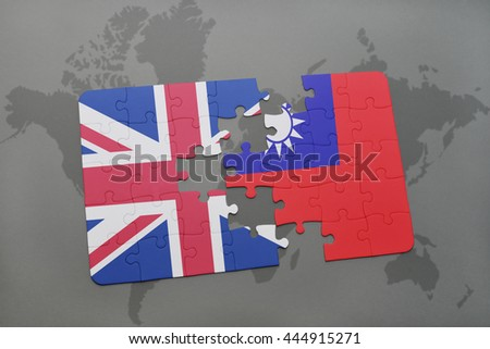 puzzle with the national flag of great britain and taiwan on a world map background. - stock photo