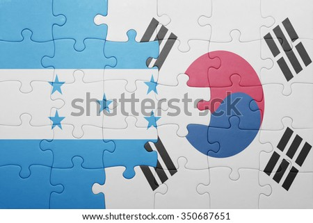 puzzle with the national flag of honduras and south korea . concept