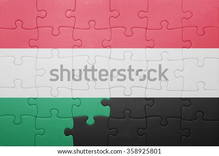 puzzle with the national flag of hungary and yemen . concept