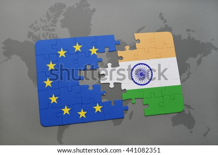 puzzle with the national flag of india and european union on a world map background. - stock photo