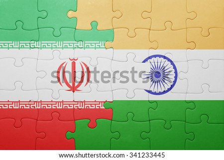 puzzle with the national flag of india and iran . concept - stock photo