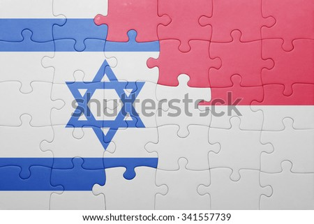 puzzle with the national flag of indonesia and israel . concept