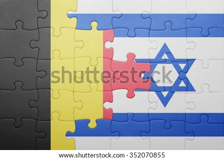 puzzle with the national flag of israel and belgium . concept