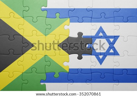puzzle with the national flag of israel and jamaica . concept