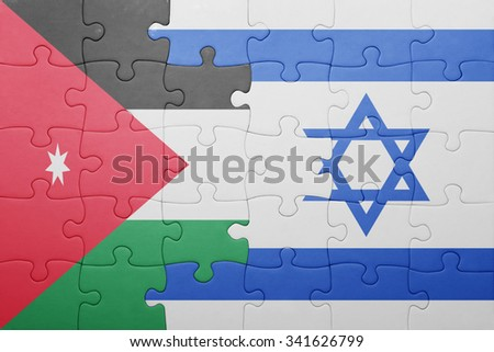 puzzle with the national flag of israel and jordan . concept