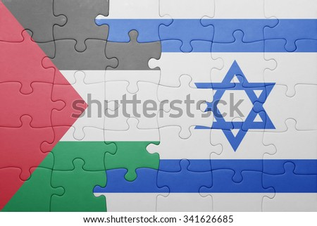 puzzle with the national flag of israel and palestine . concept