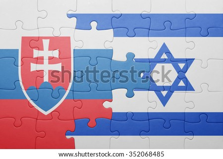 puzzle with the national flag of israel and slovakia . concept