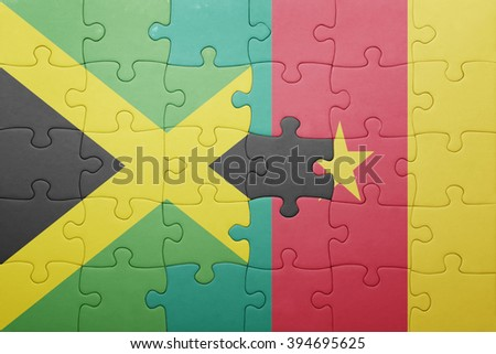 puzzle with the national flag of jamaica and cameroon . concept - stock photo