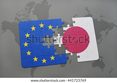 puzzle with the national flag of japan and european union on a world map - stock photo