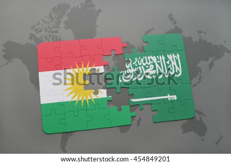 puzzle with the national flag of kurdistan and saudi arabia on a world map background. 3D illustration