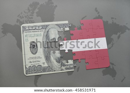 puzzle with the national flag of latvia and dollar banknote on a world map background. 3D illustration - stock photo