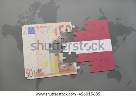puzzle with the national flag of latvia and euro banknote on a world map background. 3D illustration - stock photo