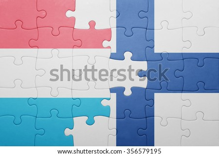 puzzle with the national flag of luxembourg and finland . concept