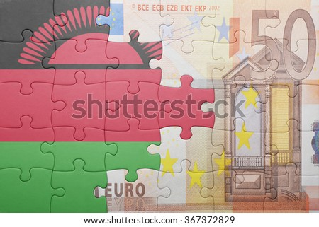 puzzle with the national flag of malawi and euro banknote . concept - stock photo