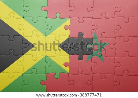 puzzle with the national flag of morocco and jamaica . concept - stock photo