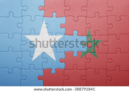 puzzle with the national flag of morocco and somalia . concept