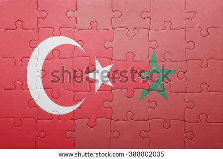 puzzle with the national flag of morocco and turkey . concept