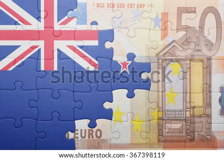puzzle with the national flag of new zealand and euro banknote . concept - stock photo