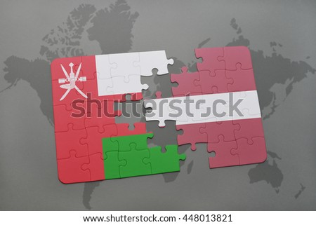puzzle with the national flag of oman and latvia on a world map background. 3D illustration - stock photo