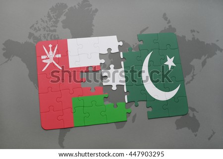 puzzle with the national flag of oman and pakistan on a world map background. 3D illustration