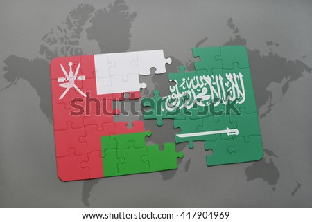 puzzle with the national flag of oman and saudi arabia on a world map background. 3D illustration